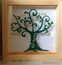 wall art personalised family tree framed in a shadow box gold