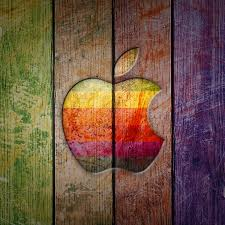 apple logo on colorful wood wallpaper wallpaper
