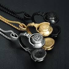 titanium stainless steel necklace images Punk gold color titanium stainless steel headphones pendants men jpg
