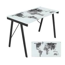 fetco home decor frames artistic office desk world map glass top computer workstation this