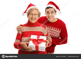 what to get an elderly woman for christmas elderly woman and with christmas present stock photo