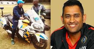 hellcat x132 dhoni ms dhoni borrows a police motorcycle from a zimbabwean cop shows up