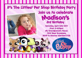 littlest pet shop lps cute animals custom birthday invitation