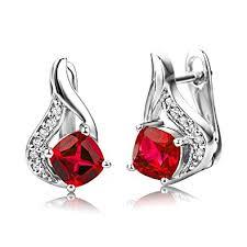 byjoy jewellery byjoy 925 ruby sterling silver stud earrings co uk jewellery