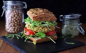 chickpea burger with avocado mayo vegan gluten free one green