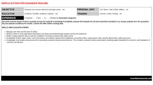 estimation engineer cover letter u0026 resume