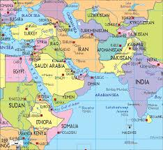 middle east map india uae map middle east major tourist attractions maps