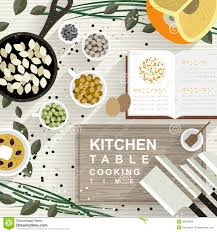 cooking materials on kitchen table in flat design stock vector
