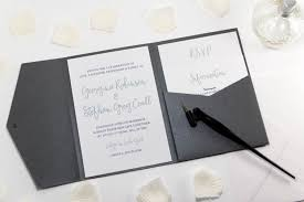 pocket fold calligraphy wedding invitation in platinum grey pocketfold