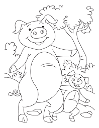 pig with its piglet coloring pages download free pig with its
