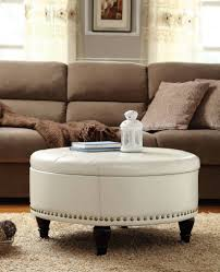 small round tufted ottoman dining room coffee table with footstools underneath leather padded
