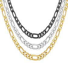 figaro chain necklace images Figaro chain necklace for men gold black gun plated stainless jpg