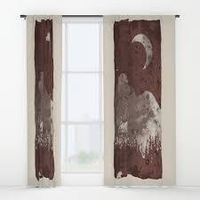 Maroon Curtains Moon Window Curtains Society6