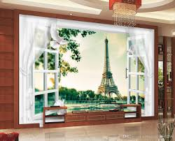 Eiffel Tower Wallpaper For Walls High Quality Costom Paris 3d Windows And Doors Curtains Eiffel