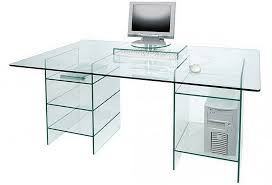 Buy Glass Computer Desk Most Appropriate Glass Computer Desk With Shelves Atzine