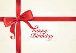 red ribbons and greeting card bows vector happy birthday stock