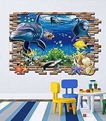 buy generic 3d blue sea world dolphin removable wall sticker