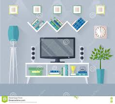 vector living room with tv set stock vector image 77713105