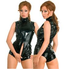 womens wet look teddy leotard high neck leather crotchless