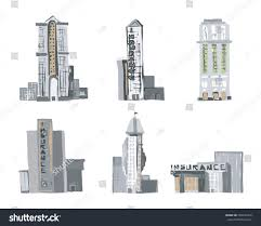 commercial buildings sketch style vector commercial stock vector