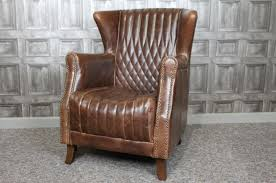 Leather Armchair Vintage Style Leather Armchair In Brown Leather With Stud Work