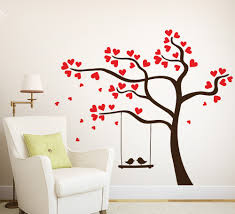 wall art ideas design blowing wind tree wall art sticker red wall art ideas design love heart tree bird hanging swing brown coloured branch suitable for livingrooms