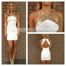 white party dresses gold sequin white party dresses halter cut out open back