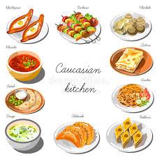 cuisine caucasienne ensemble caucasien de cuisine collection de plats de nourriture