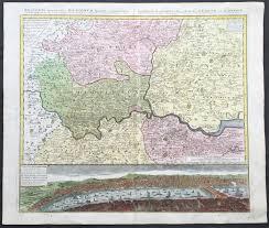 Birds Eye View Maps 1741 Large Homann Antique Map Of London Surrey Birds Eye View Of