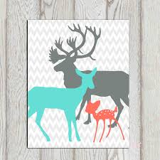 Turquoise Nursery Decor Coral Turquoise Gray Boy Bedroom Decor Print Deer Family