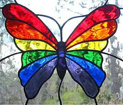 hanging panel stained glass rainbow butterfly stained glass