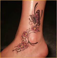 butterfly on flowers colorful ankle tattoos tattooshunter com