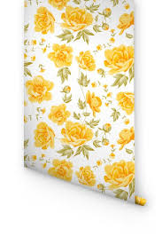 yellow peonies yellow peony pattern removable wallpaper the sheer beauty of