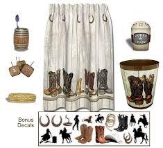 shower curtain cowboy theme bathroom accessories 6 piece set ebay