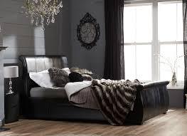 bed black leather bed frame home design ideas