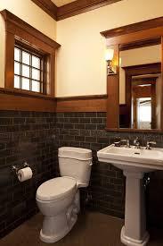 Powder Room With Pedestal Sink Bathroom Trim Ideas Powder Room Craftsman With Pedestal Sink