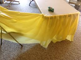 how to make a table skirt out of a plastic dollar store table