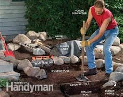 a backyard build a backyard waterfall and stream family handyman