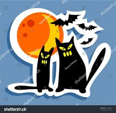 halloween kitties background halloween cats moon on blue background stock vector 215663338