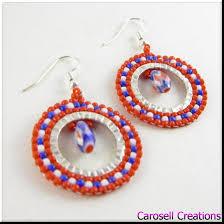 hoop beaded earrings hoop seed bead earrings white and blue by carosellcreations