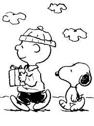 charlie brown snoopy bring christmas present coloring