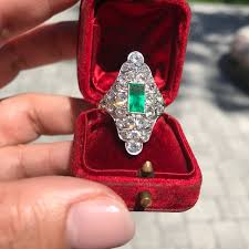 red emerald rings images Antique emerald and old european cut diamond dinner ring jewels jpg