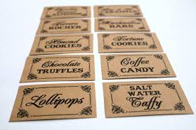 set of 10 candy buffet candy bar food labels tags wedding