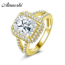bridal rings images Ainuoshi 10k solid yellow gold women engagement rings square jpg