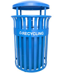 outdoor trash receptacles and recycling cans organize it