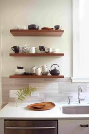 kitchen contemporary floating wood kitchen shelves wall shelving