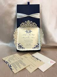 Boxed Wedding Invitations Blue And White Laser Cut Boxed Wedding Invitation Weddinglovely Blog