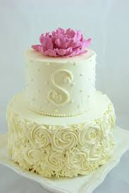 wedding cake gum buttercream decorated small wedding cake with piped roses dots and