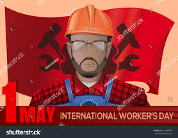 Red Flag Day Labor Day Poster Workman On Background Stock Vector 412639993