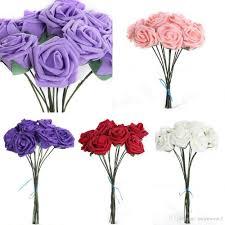7cm head multicolor pe rose foam flower bouquet solid color
